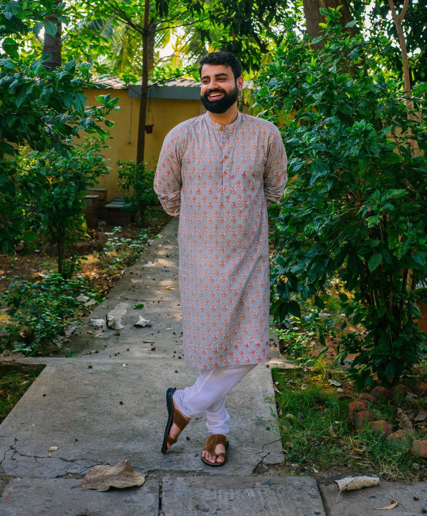 Grey Block Printed Long Kurta