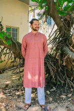 Load image into Gallery viewer, Brown Long Kurta with Red Buta Print