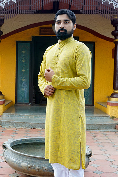Lime Cotton Kurta