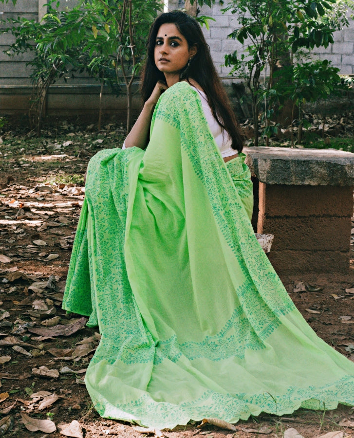 Bela - Green Floral Block Printed Saree