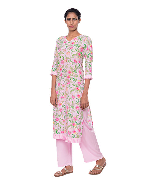 Floral Kurtis With Frills