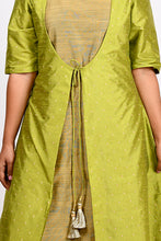 Load image into Gallery viewer, Byogi Soumya collection. This is a closeup of green double layered kurti for women. It has a Cotton a line kurta for women and a sleeveless jacket.