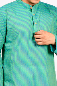Dobby Butties Regular Kurta - Teal Blue