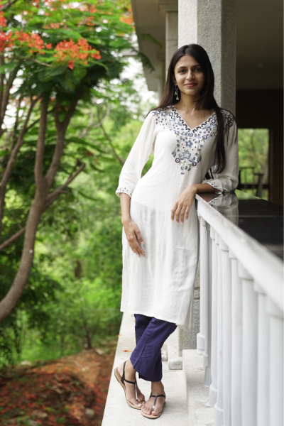 White Kurti with Blue Embroidery