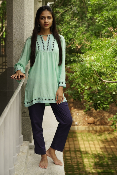 Embroidered Yoke Short Top - Sea Green