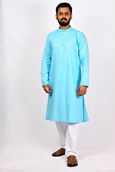 Cotton Linen Regular Kurta - Blue
