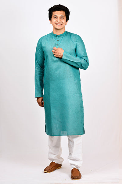 Cotton Jute Regular Kurta - Teal Green