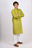 A BYOGI festive green cotton kurta for men.