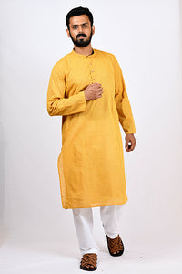 A BYOGI yellow kurta for men in festive collection.