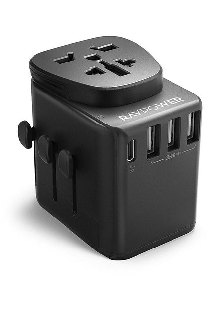 RAVPower Travel Charger Diplomat 30W 4-Port PD QC3.0 - Black