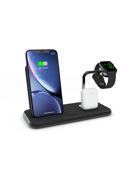 ZENS Stand+Dock+Watch Aluminium Wireless Charger Black