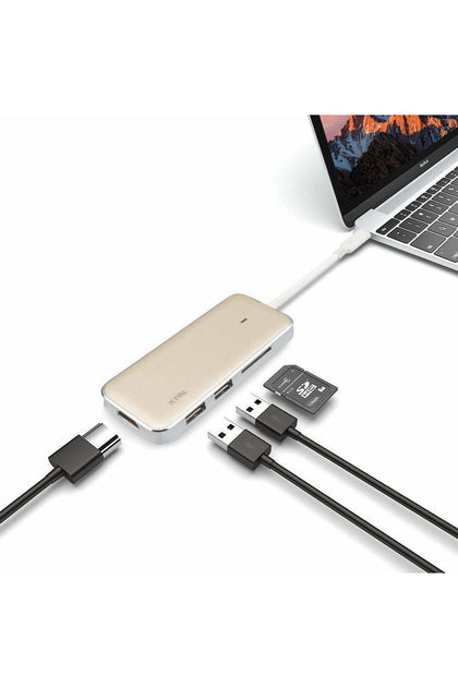 Jcpal USB-c Multiport Adapter with HDMI and SD Card Reader-Gold (JCP6115)