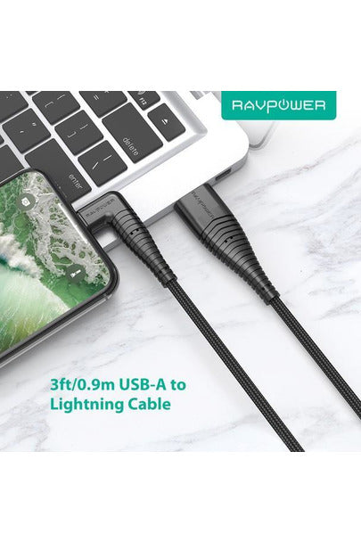 RAVPower Lightning Cable Nylon Yarn Braided 90°Connector 3ft 0.9m - Black (RP-CB013) - www.emarketkw.com
