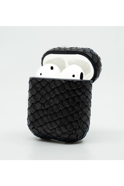 Cloak Black snakeskin leather Case for AirPod 1,2