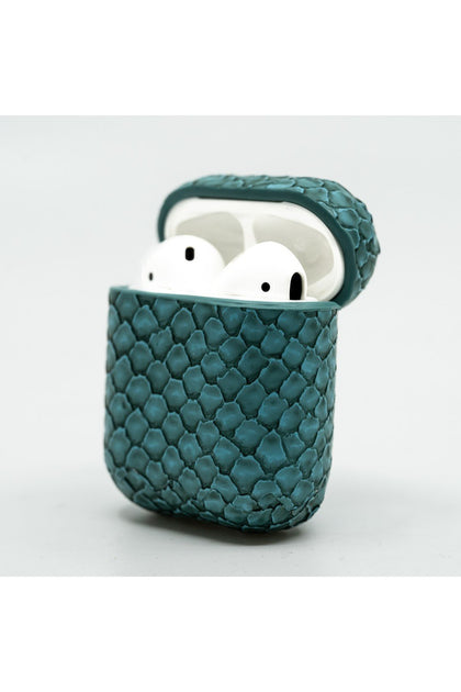 Cloak Light blue snakeskin leather Case for AirPod 1,2