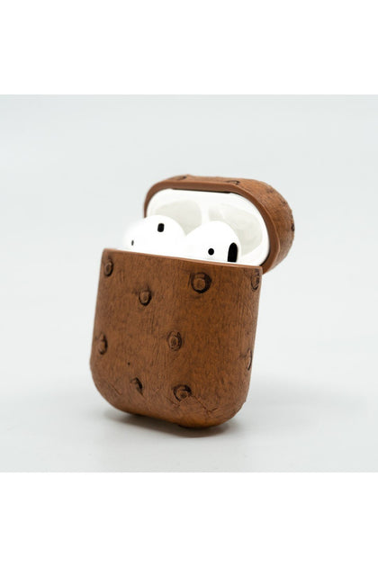 Cloak Brown ostrich leather Case for AirPod 1,2