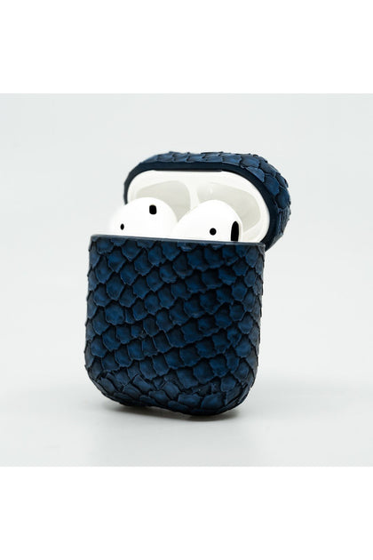 Cloak Navy Blue Snakeskin Leather Case for AirPod 1,2