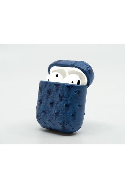 Cloak Blue ostrich leather Case for AirPod 1,2