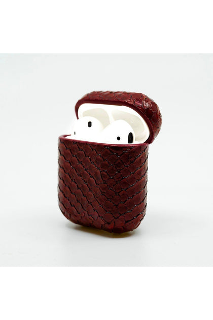 Cloak Maroon snakeskin leather Case for AirPod 1,2