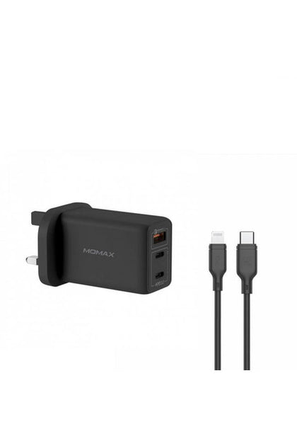 MOMAX FastPro Gan charger kit with lightning cable Black