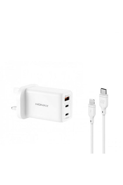 MOMAX FastPro Gan charger kit with lightning cable White