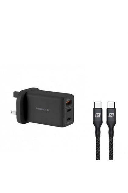 MOMAX FastPro Gan charger kit with Type-C cable Black