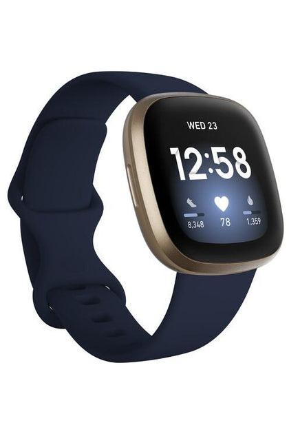 Fitbit Versa 3 GPS Smartwatch (Midnight / Soft Gold Aluminum)