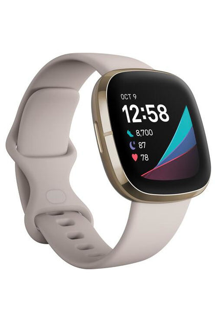 Fitbit Sense GPS Smartwatch (Lunar White / Soft Gold Stainless Steel)