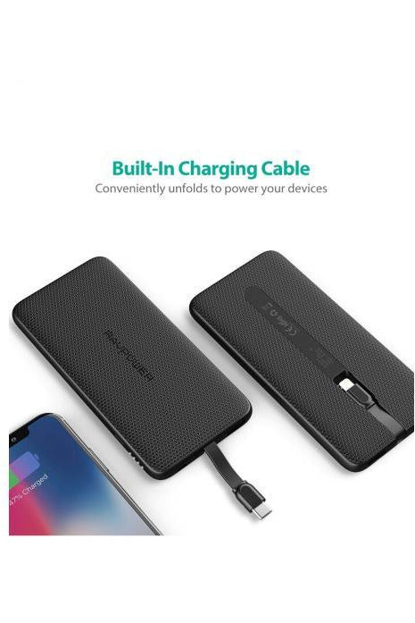 RAVPower Power Bank  Blade 10000mAh Built-in Type-C Cable PD QC3.0 - Black