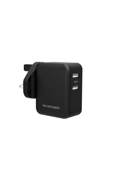 RAVPower , Wall Charger , 24W Dual Port UK iSmart-Black (RP-PC001) - www.emarketkw.com