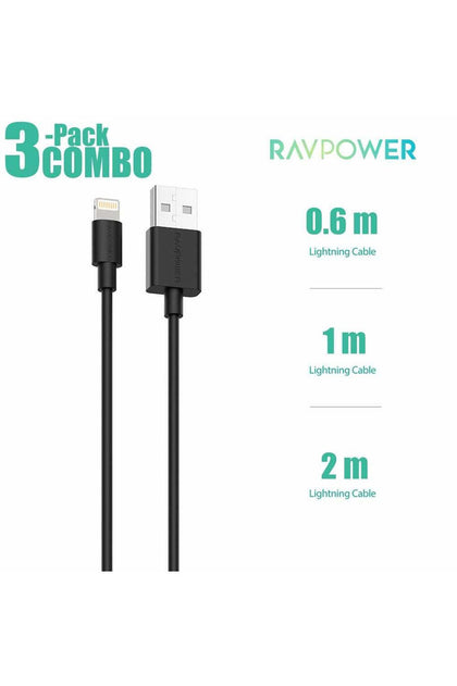 RAVPower 3-Pack USB Cable with Lightning Connector ( 0.6m / 1m / 2m ) - (RP-CB045)