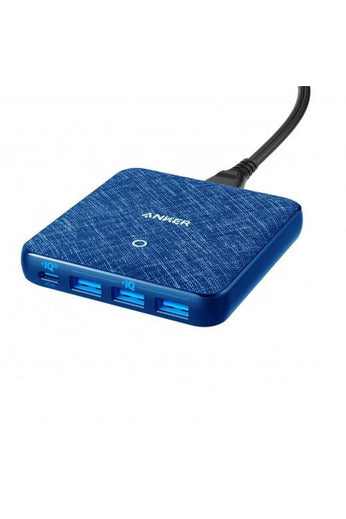 Anker PowerPort Atom III Slim 4 Port Wall Charger Blue Fabric