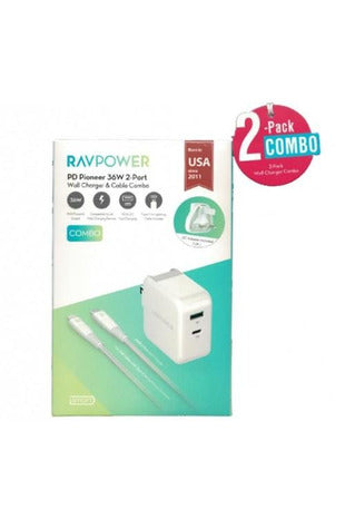 RAVPower / Wall Charger / COMBO [2-Pack] (Wall Charger 36W+C-Lightning Cable 1m) -White (RP-PC129) - www.emarketkw.com