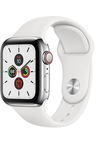 Apple Watch Series 5 44mm Stainless Steel Case with White Sport Band (GPS + Cellular)