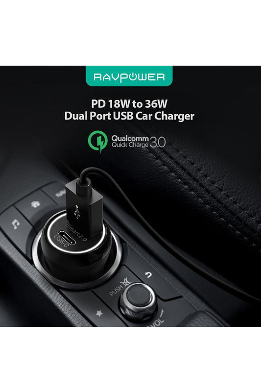 RAVPower, Car Charger, 36W Dual USB PD QC3.0-Black (RP-PC091) - www.emarketkw.com