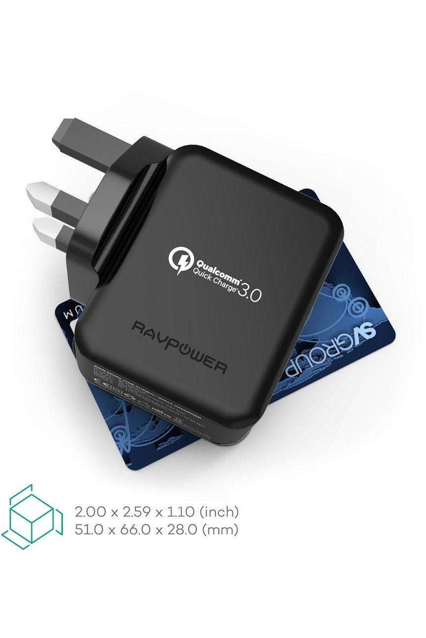 RAVPower, Wall Charge, 30W Dual USB QC3.0 UK - Black - www.emarketkw.com