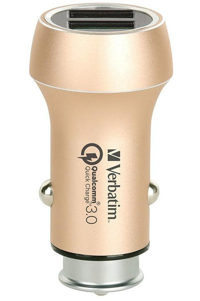 Verbatim Dual Car Charger Dual Port (1 QC 3.0 - USB) 30W MAX Power - Gold (65504 0517-1089) - www.emarketkw.com