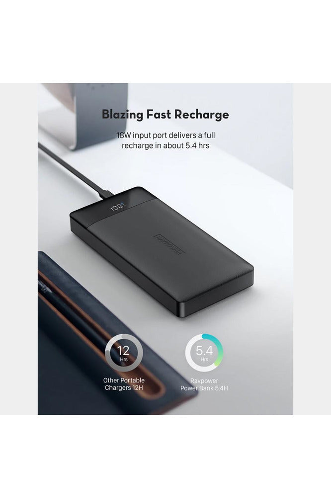 RavPower PD Pioneer 20000mAh 18W 3-Port Power Bank - Black (RP-PB172)