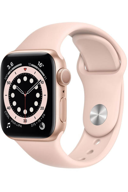 Apple Watch Series 6 44mm Gold Aluminum Case with Pink Sport Band - GPS + Cellular