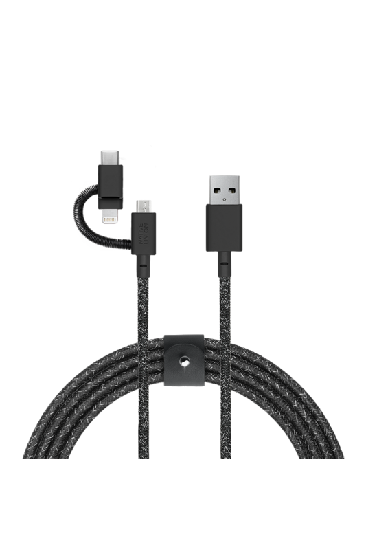 Native Union 3-in-1 charging cable with genuine leather strap Universal 2 Meter - Cosmos Black
