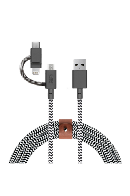 Native Union 3-in-1 charging cable with genuine leather strap Universal 2 Meter - Zebra