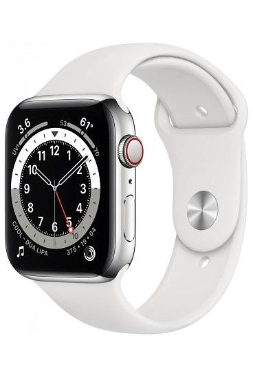 Apple Watch Series 6 GPS+Cellular 44 Mm Silver Stainless Steel Case And White Sports Band