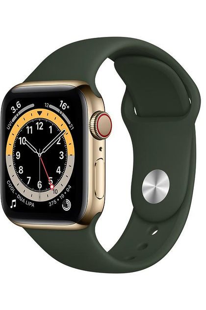 Apple Watch Series 6 40mm Gold Stainless Steel Case with Cyprus Green Sport Band - GPS+Cellular