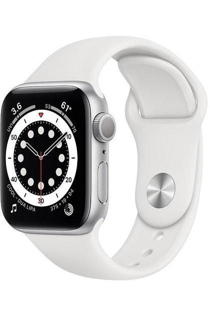 Apple Watch Series 6  44mm Silver Aluminum Case with White Sport Band - GPS+Cellular