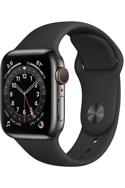 Apple Watch Series 6 40mm Graphite Stainless Steel Case with Black Sport Band - GPS+Cellular