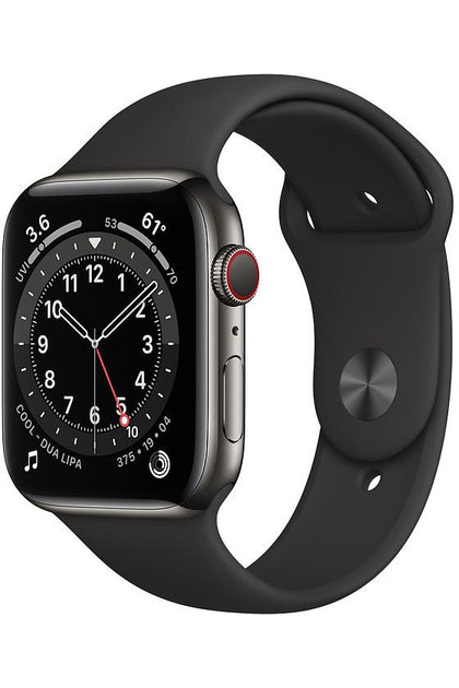 Apple Watch Series 6 44mm Graphite Stainless Steel Case Black Sport Band - GPS + Cellular