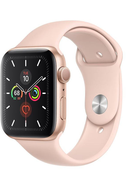 Apple Watch Series 5 (GPS + Cellular), 44MM, Gold Aluminium Case With Pink Sport Band (MWWD2) - www.emarketkw.com