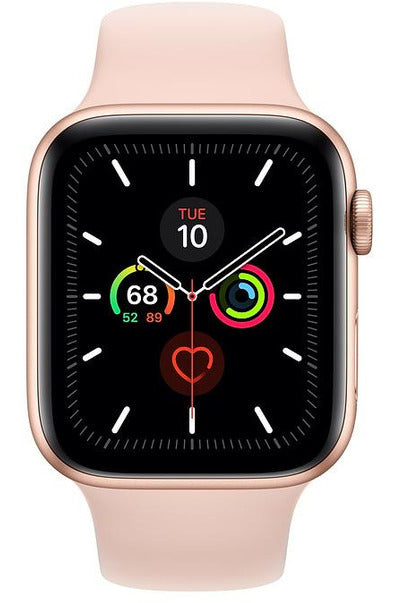 Apple Watch Series 5 (GPS + Cellular), 44MM, Gold Aluminium Case With Pink Sport Band (MWWD2)