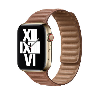 Apple 44MM Saddle Brown Leather Link — M/L