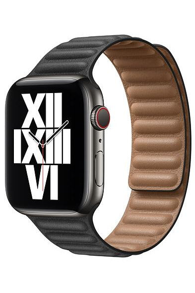 Apple 44mm Black Leather Link - S/M